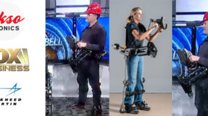 Images of Ekso Bionic's new passive exoskeleton for industrial use from FOX Business and FORTIS from Lockheed Martin
