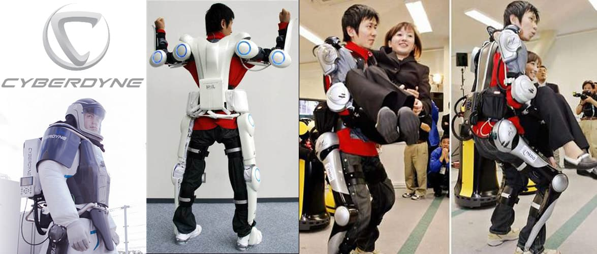 Various iterations of the HAL exoskeleton by CYBERDYNE