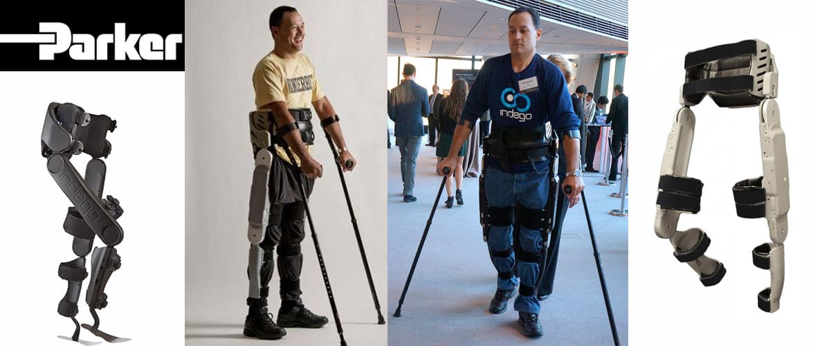 Indego by Parker Hannifin, lower body exoskeleton for rehabilitation and walking assist.