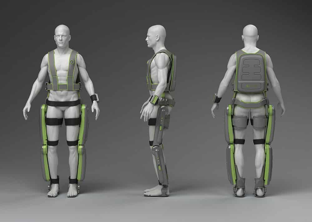 A Computer Aided Design (CAD) drawing of an older version of the ReWalk exoskeleton.