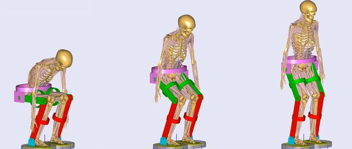 Basic Exoskeleton (SolidWorks) Lifting Up Simulated Human Body (AnyBody) / Youtube:AnyBodyTech
