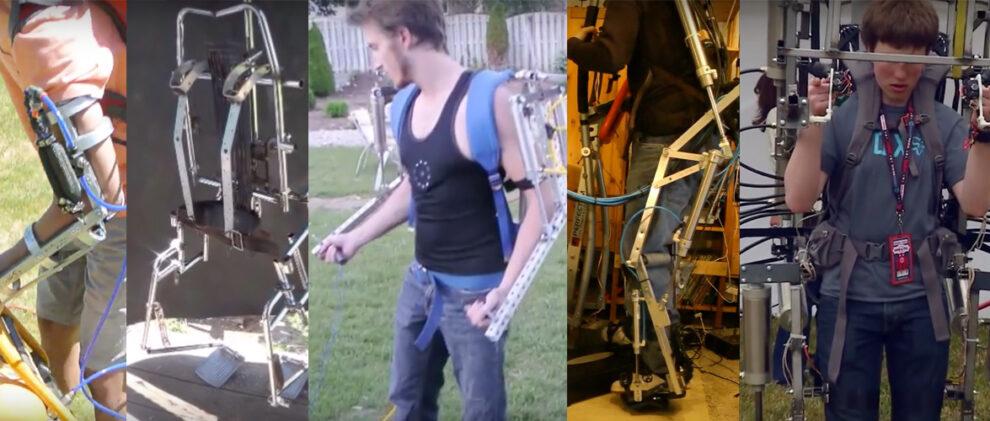 DIY Exoskeleton, left to right: Exo-Arm, 'Homemade Exoskeleton', powered by Nitinol and Peltier Thermoelectric chips at completion, Elysium Exoskeleton, Pneumatic Exoskeleton 3.3, Ajax Exosuit