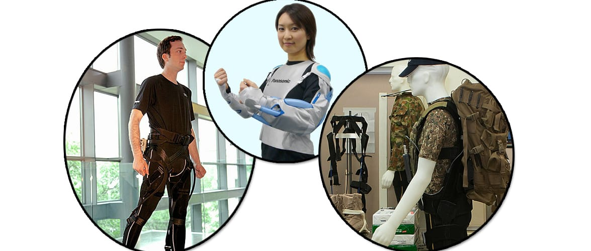 Soft Exoskeletons, left to right: Harvard Soft Robotic Exosuit - Wyss Institute, Panasonic REALIVE - Matsushita Electric Industrial Co., DSTO Operations Exoskeleton - Gizmodo.AU