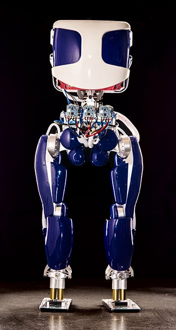 PROXI, SRI's humanoid robot for dynamic, energy efficient walking (not an exoskeleton), https://www.sri.com/engage/products-solutions/proxi-high-efficiency-humanoid-robot-platform