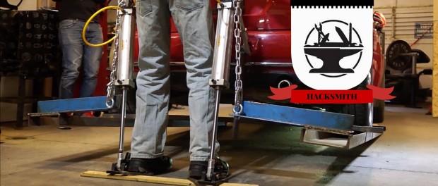 HACKSMITH CoD exoskeleton lifts a car, 2016, YouTube