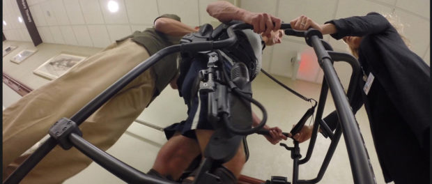 Brad Berman training on the Ekso exoskeleton at Burke Rehabilitation Center in White Plains, N.Y., Oct. 2014. CBS News