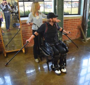 Demonstration of the Ekso GT by Shane Mosko and physical therapist Jenn Macievich at Ekso Bionics HQ, Richmond, 2016