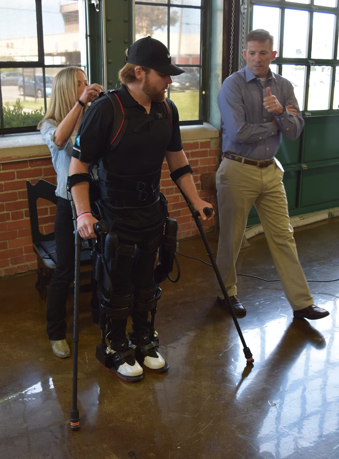 Demonstration of the Ekso GT by Shane Mosko and physical therapist Jenn Macievich and Clinical Vice President Darrell Musick at Ekso Bionics HQ, Richmond, 2016