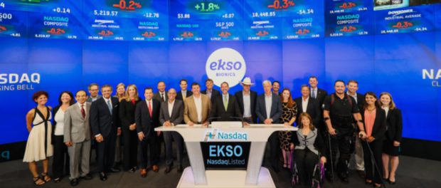 Ekso Bionics management and select others ring the NASDAQ closing bell in August 2016, via NASDAQ Stock Market Ceremonies