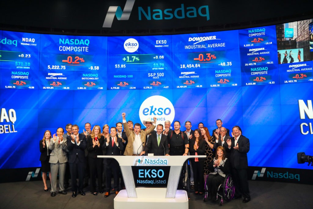 Ekso Bionics management and select others ring the NASDAQ closing bell in August 2016, via <a href=
