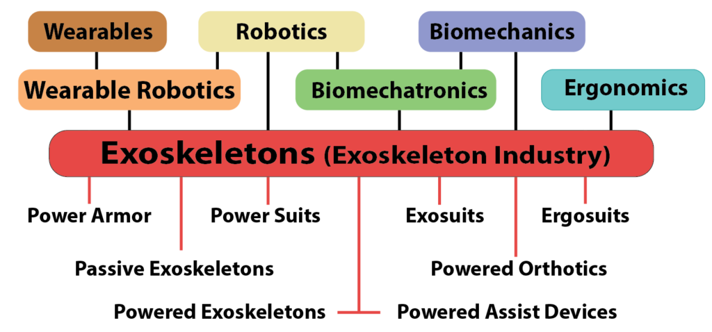 Exoskeleton and Exoskeleton Industry umbrella terms.