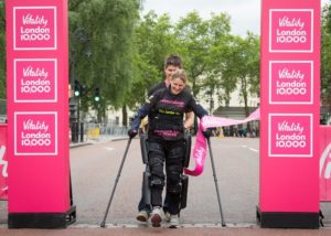 "Claire Lomas In the Great North Run, September 2016 via <a href=""https://www.justgiving.com/fundraising/clairelomasGNR"" target=""_blank""> JustGiving.com</a>"