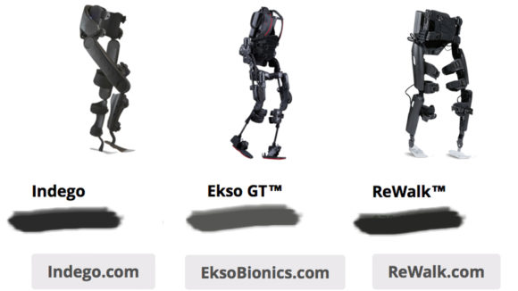 Comparing Indego vs Ekso GT vs ReWalk, 2016, All images taken from respective product websites.
