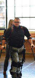 Matt and Jenn demonstrating the Ekso GT at the Wearable Robotics Association Lunch & Learn at Ekso Bionics, October 2016