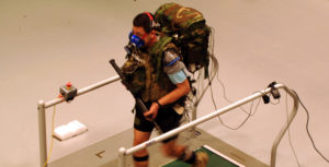 A Spring Active exoskeleton being tested on a treadmill via DARPA 2013