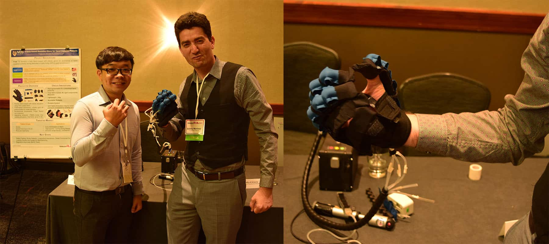 Hong Kai Yap, National University of Singapore and Bobby Marinov, Exoskeleton Report, demoing the Fabric-Based Assistive Glove for Hand Impaired Patients