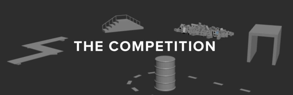 Rendering of the ACE Applied Collegiate Exoskeleton Competition 2018 obstacle course - competition rules, https://www.acecompetition.org/