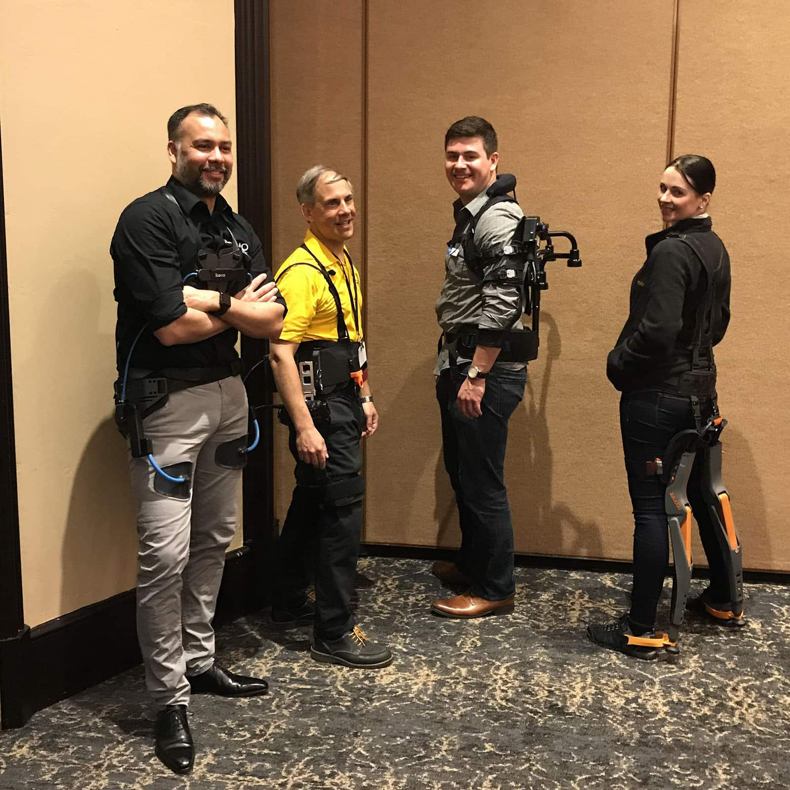 Representatives from Laevo, SpringActive, Ekso Bionics, and Noonee preparing for a presentation at WearRAcon18