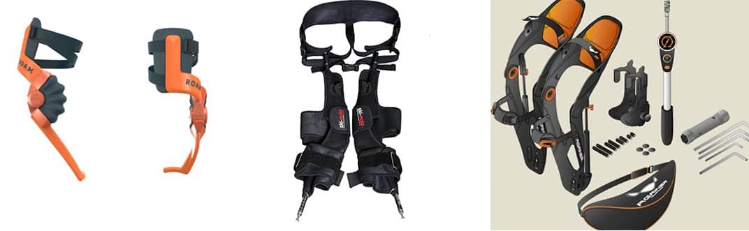 Ski Exoskeletons in 2018. From left to right: SKI Exoskeleton Concept by ROAM Robotics, Ski~Mojo by Kinetic Innovations, Againer by Againer