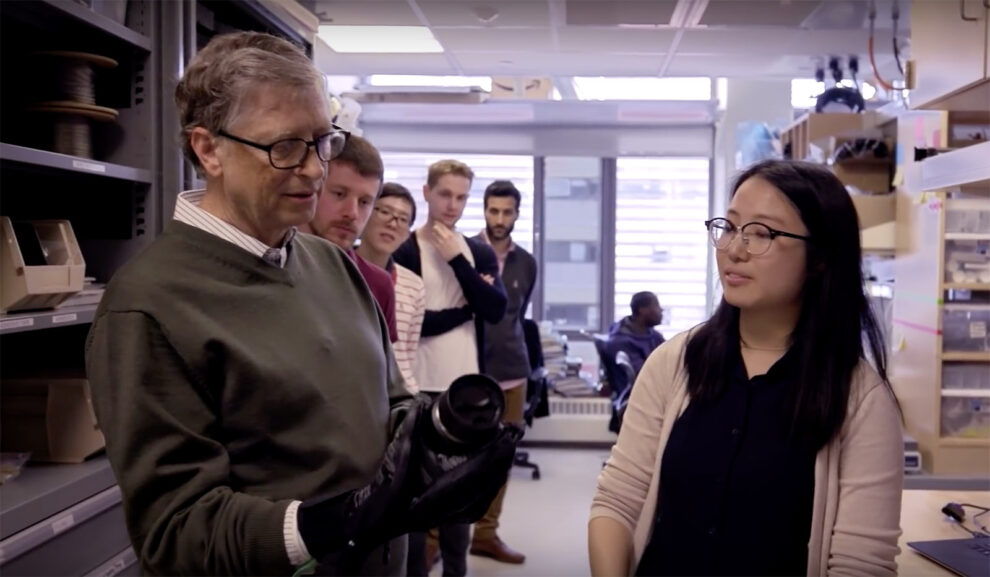 Bill Gates Examines Exosuits at the Wyss Institute at Harvard