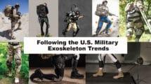 Left to right: HULC, ExoBuddy, XOS 2, Warrior Web Concept, ONYX, Bottom Row: Power Walk, Warrior Web, WYSS Exosuit
