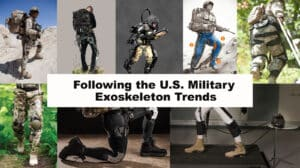 Left to right: HULC, ExoBuddy, XOS 2, Warrior Web Concept, ONYX, Bottom Row: Power Walk, Warrior Web, WYSS Exosuit