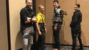 Left to right: passive hip exoskeleton by Laevo, powered hip exoskeleton by Spring Active, passive shoulder exoskeleton by Ekso Bionics and chairless chair by Noonee