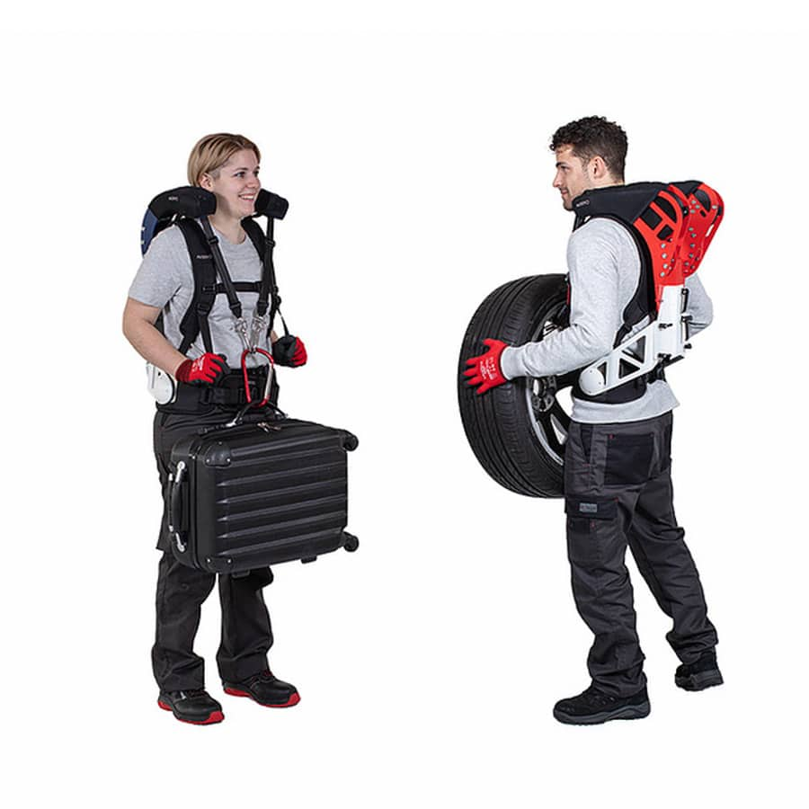 CarrySuit by Auxivo front and back view exoskeleton catalog